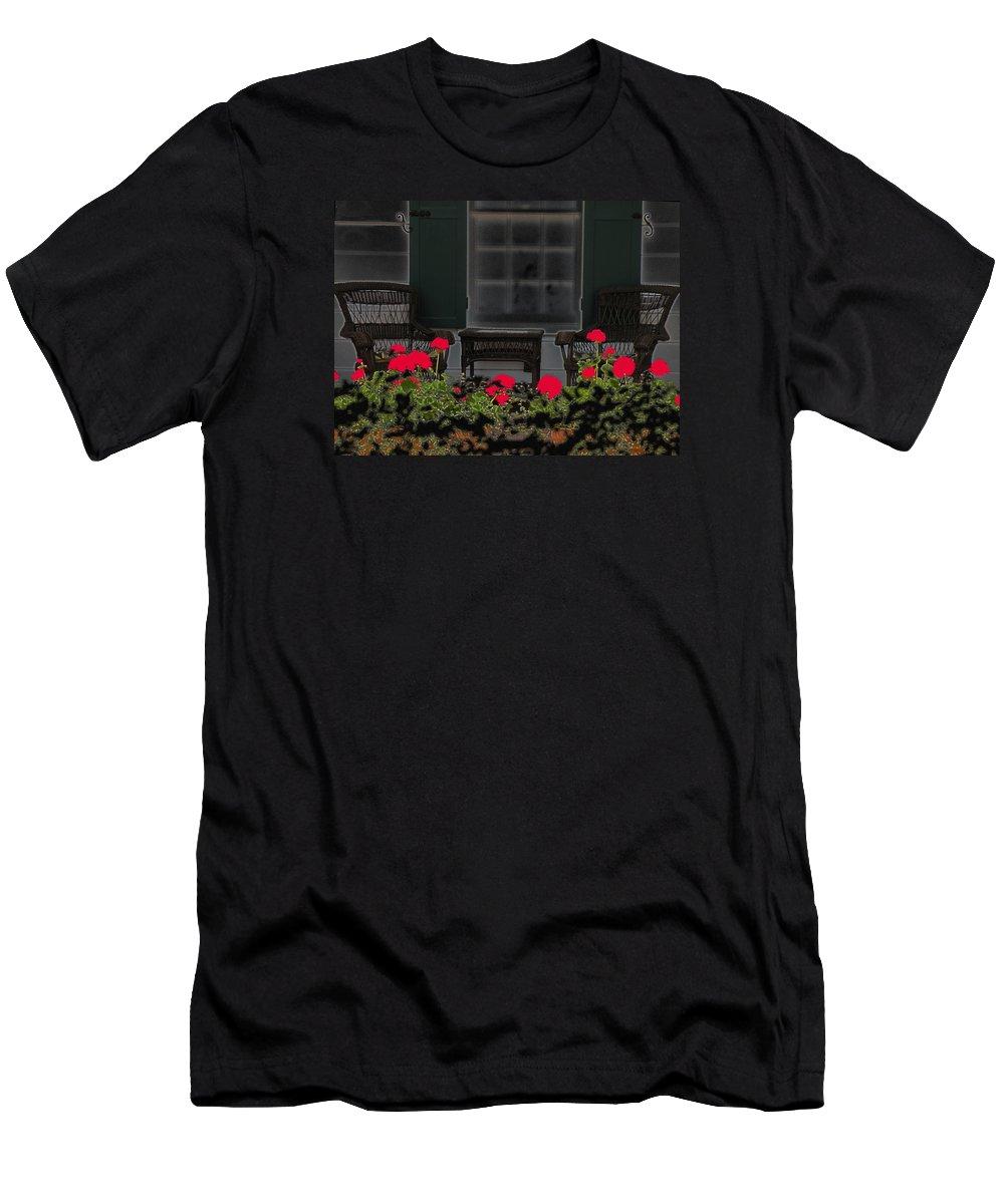Porch Men's T-Shirt (Athletic Fit) featuring the photograph Pleasant Evening by Rosalie Scanlon
