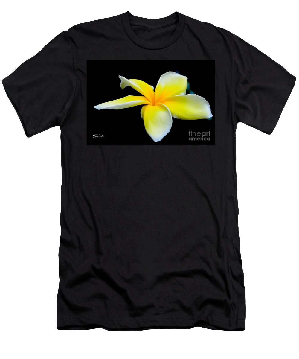 Plumeria In Yellow Men's T-Shirt (Athletic Fit) featuring the photograph Plumeria In Yellow by Jeannie Rhode