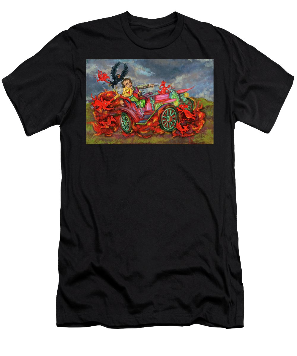 Poe Men's T-Shirt (Athletic Fit) featuring the digital art Poe Enjoy The Countryside by Clown Coffins