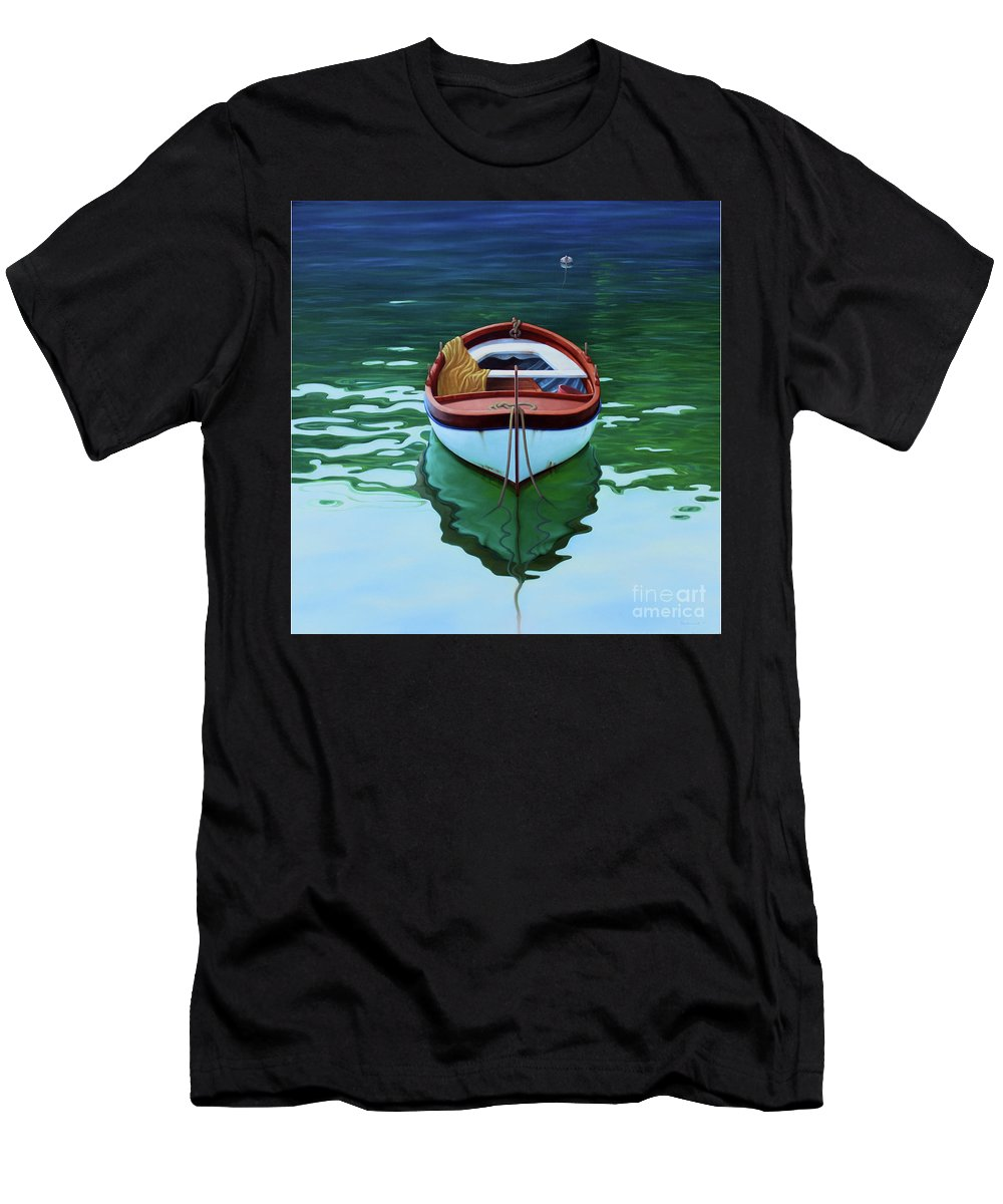 Realistic Marine Paintings Men's T-Shirt (Athletic Fit) featuring the painting Coastal Wall Art, Poetic Light, Fishing Boat Paintings by Rinaldo Skalamera
