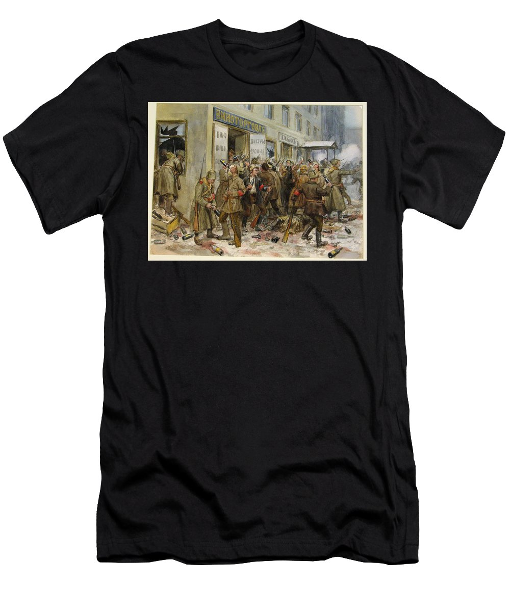 Pogrom Of Wine Shop - Ivan Vladimirov Men's T-Shirt (Athletic Fit) featuring the painting Pogrom Of Wine Shop by MotionAge Designs