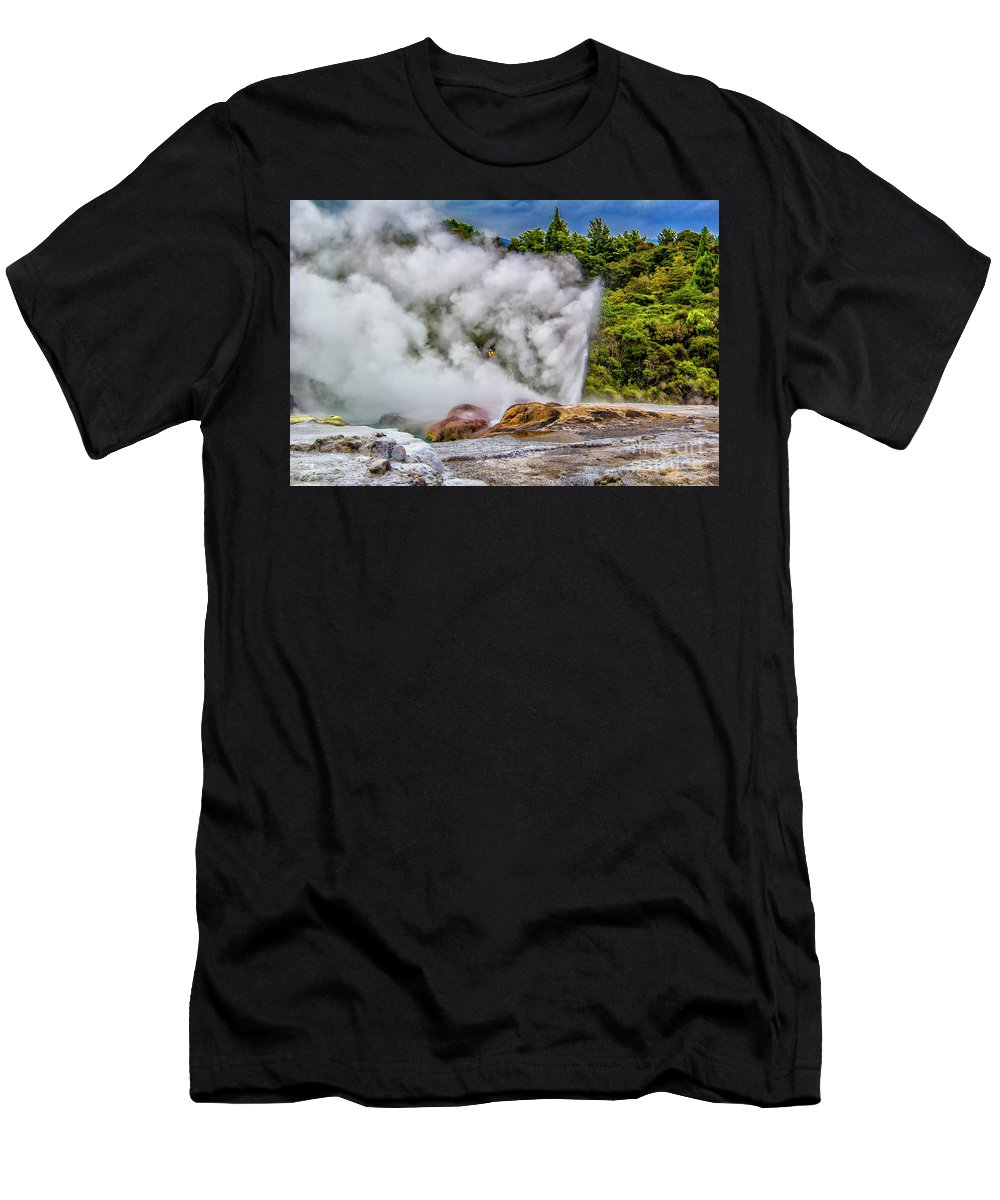 Men's T-Shirt (Athletic Fit) featuring the photograph Pohutu 2 by Roberta Bragan