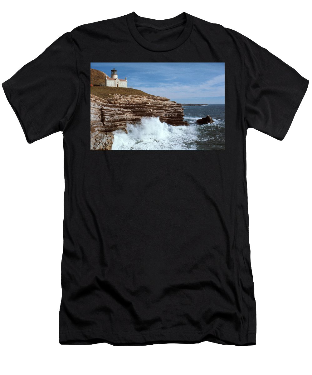 Point Conception Lighthouse Men's T-Shirt (Athletic Fit) featuring the photograph Point Conception Lighthouse by Jerry McElroy