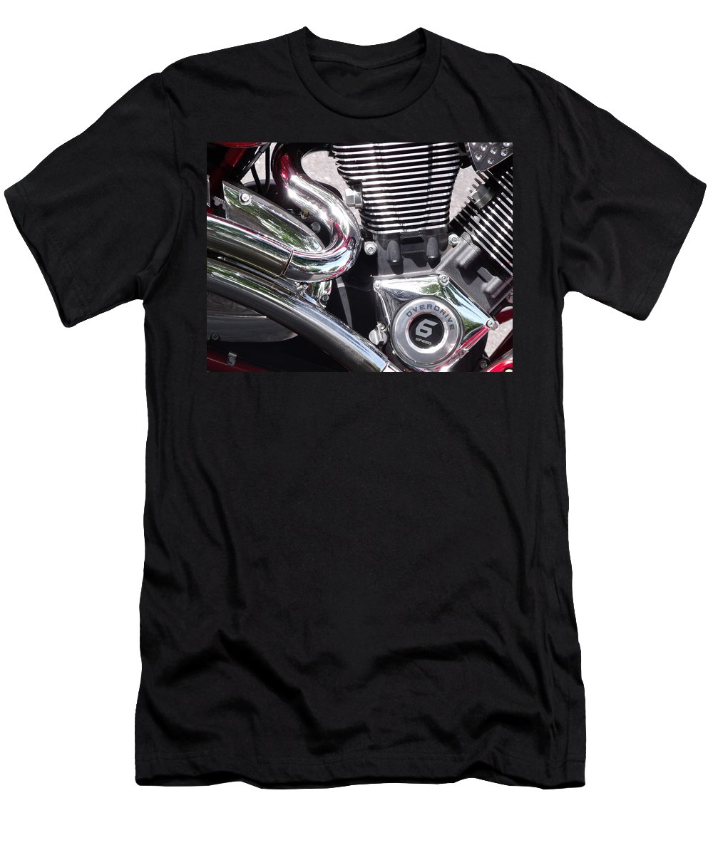 Polished Motorcycle Chrome Detail Photo Men's T-Shirt (Athletic Fit) featuring the photograph Polished Motorcycle Chrome by Cherokee Blue