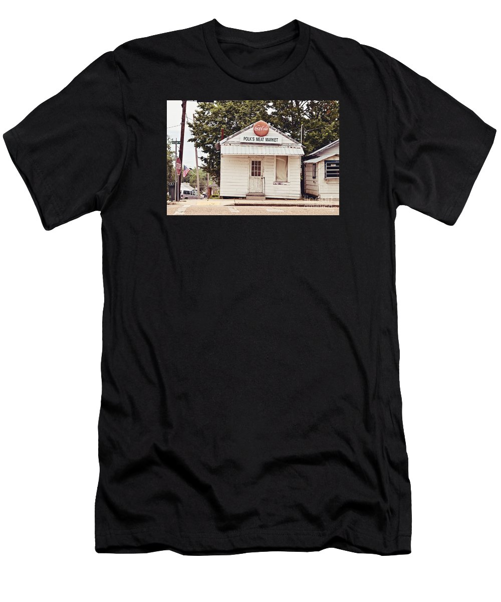 Polk's Meat Market Men's T-Shirt (Athletic Fit) featuring the photograph Polk's Meat Market by Scott Pellegrin