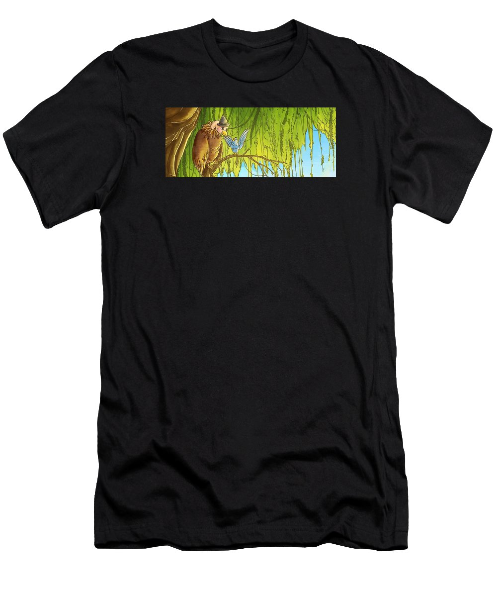 Bird Men's T-Shirt (Athletic Fit) featuring the painting Polly And Her Friend, Elfie by Reynold Jay