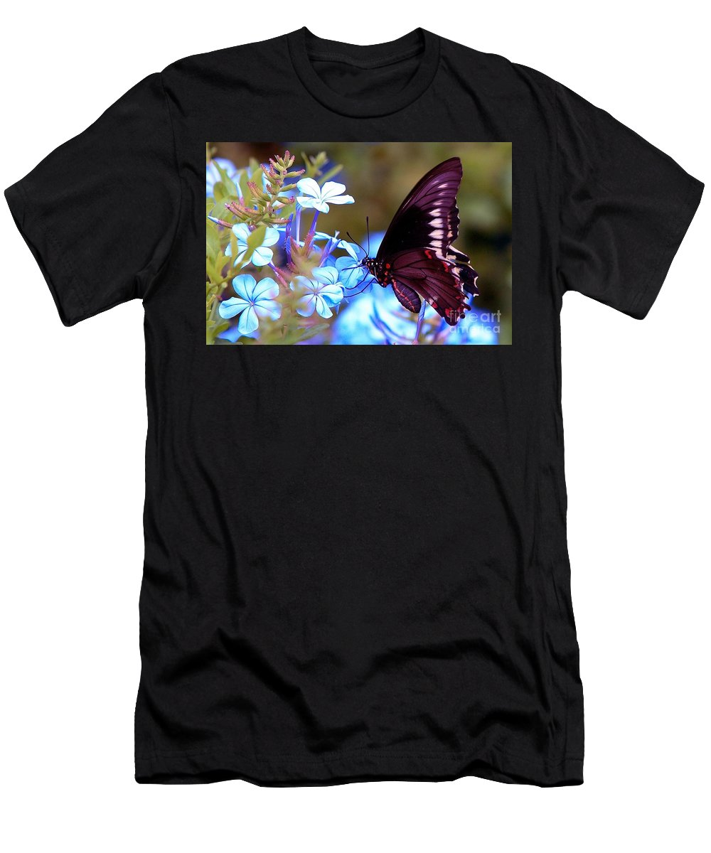 Butterfly Men's T-Shirt (Athletic Fit) featuring the photograph Polydamas Swallowtail Butterfly by Randy Matthews