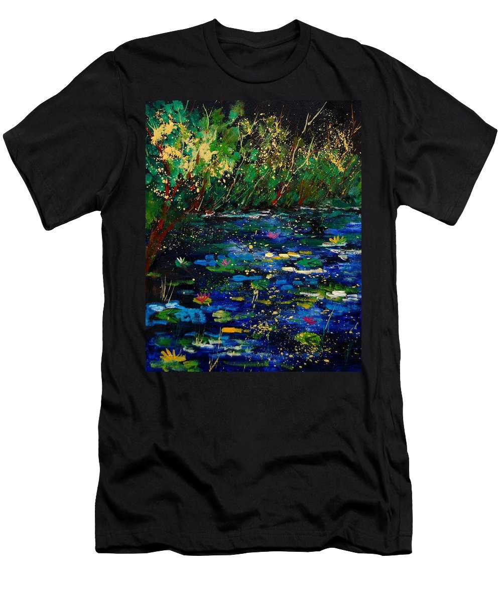 Water Men's T-Shirt (Athletic Fit) featuring the painting Pond 459030 by Pol Ledent
