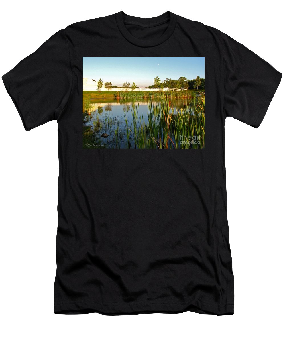 Landscape Men's T-Shirt (Athletic Fit) featuring the photograph Pond At Sunset by Todd Blanchard