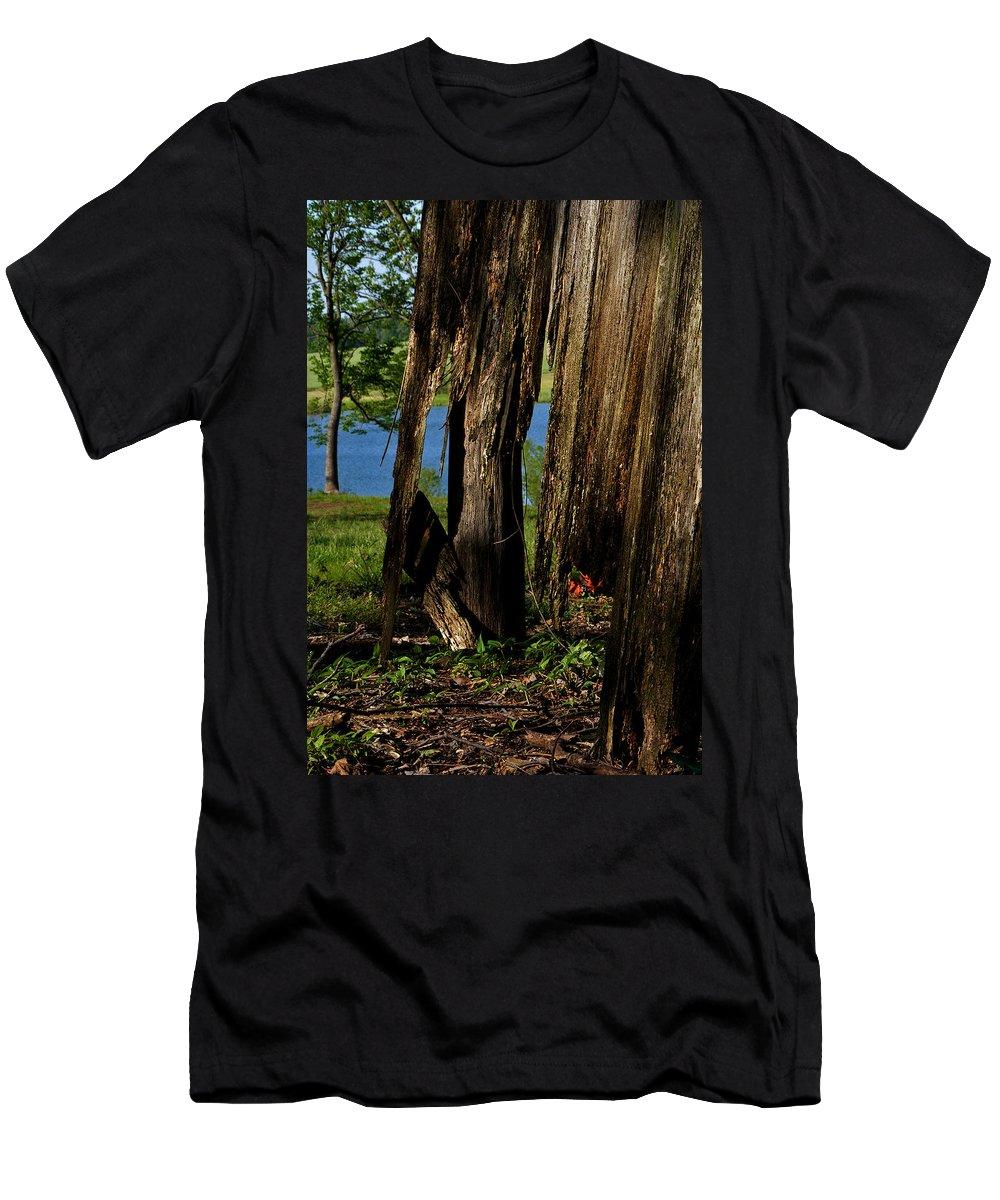 Landscape Men's T-Shirt (Athletic Fit) featuring the photograph Pond Fragments by Rachel Christine Nowicki