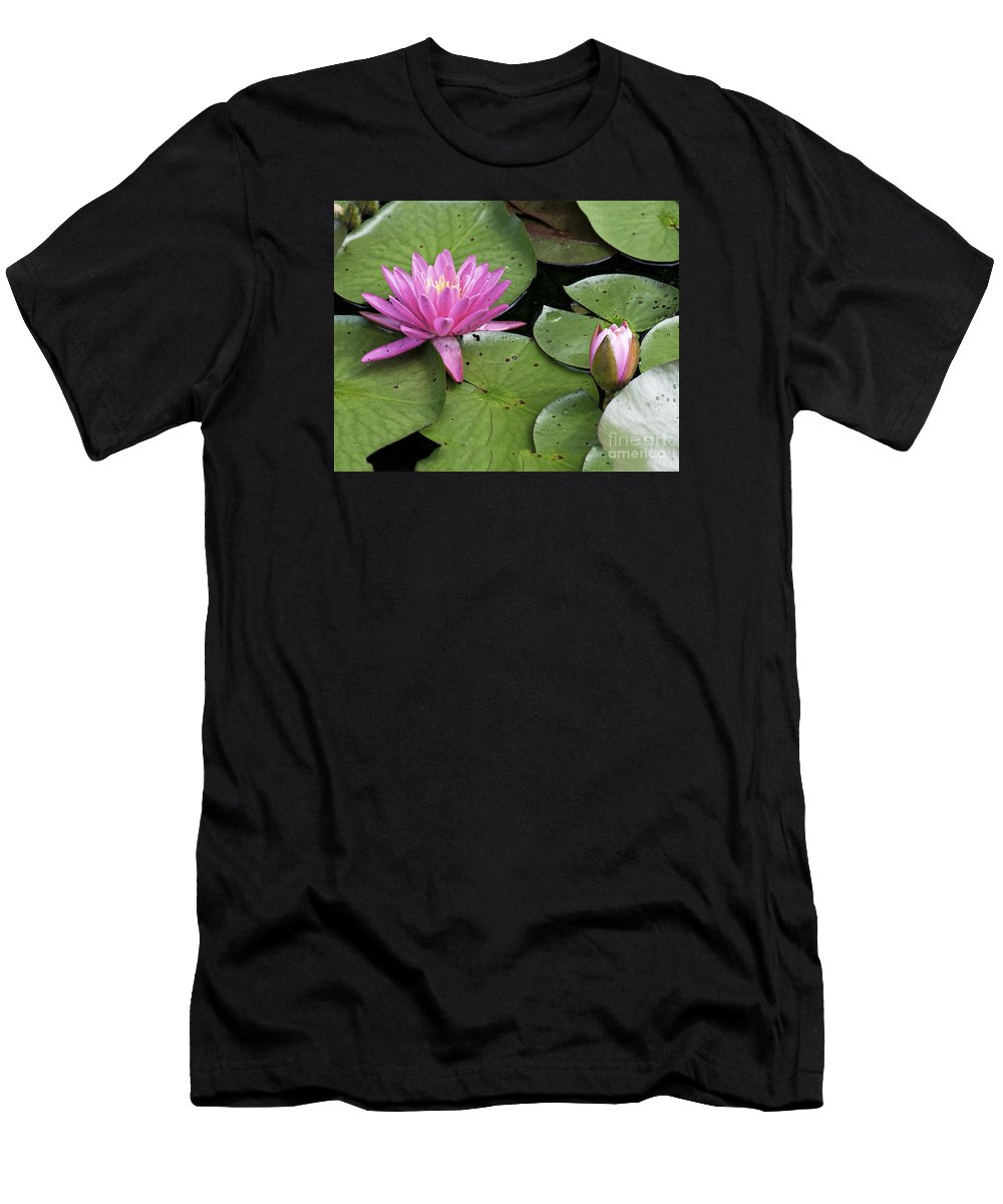 Lily Men's T-Shirt (Athletic Fit) featuring the photograph Pond Lily And Bud by Timothy Flanigan
