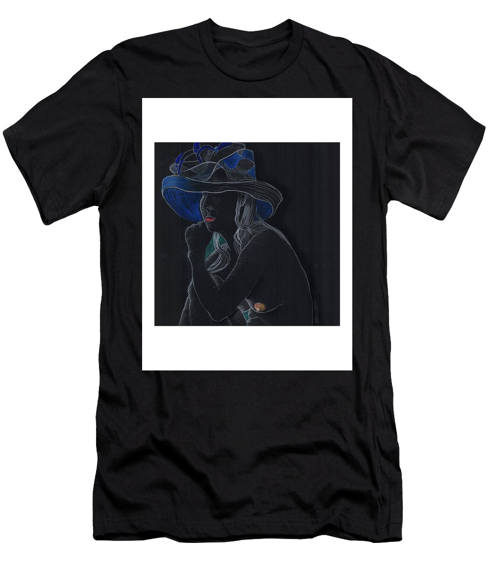 Drawing Men's T-Shirt (Athletic Fit) featuring the drawing Pondering by Gideon Cohn