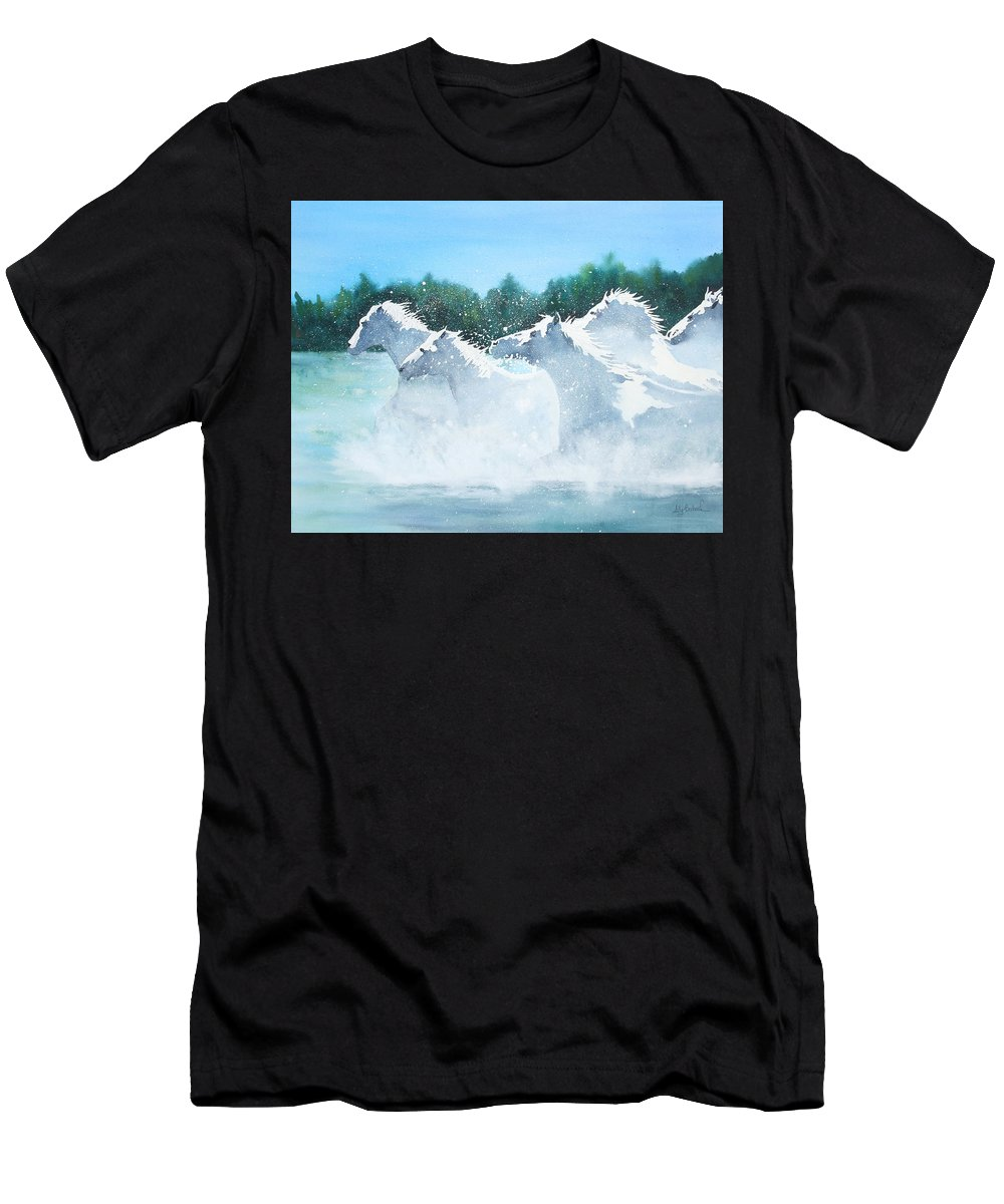 Horse Men's T-Shirt (Athletic Fit) featuring the painting Splash 2 by Ally Benbrook
