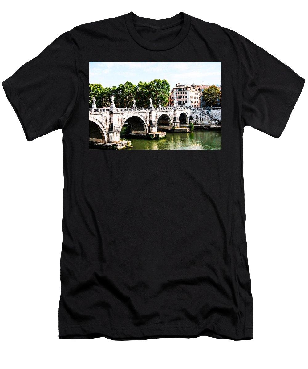 Ponte Saint' Angelo Bridge Men's T-Shirt (Athletic Fit) featuring the photograph Ponte Saint' Angelo, Rome by Renee Klein