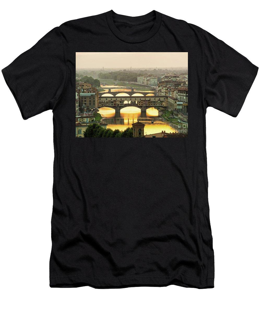 Sunset Men's T-Shirt (Athletic Fit) featuring the photograph Ponte Vecchio Enlighten By The Warm Sunlight, Florence. by Antonio Gravante