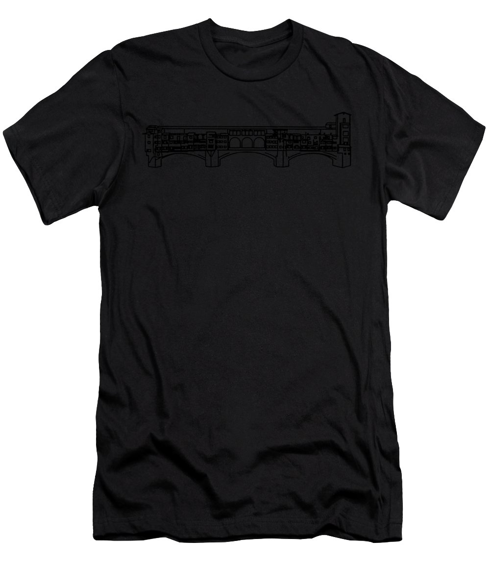 Florence Men's T-Shirt (Athletic Fit) featuring the digital art Ponte Vecchio Florence Tee by Edward Fielding