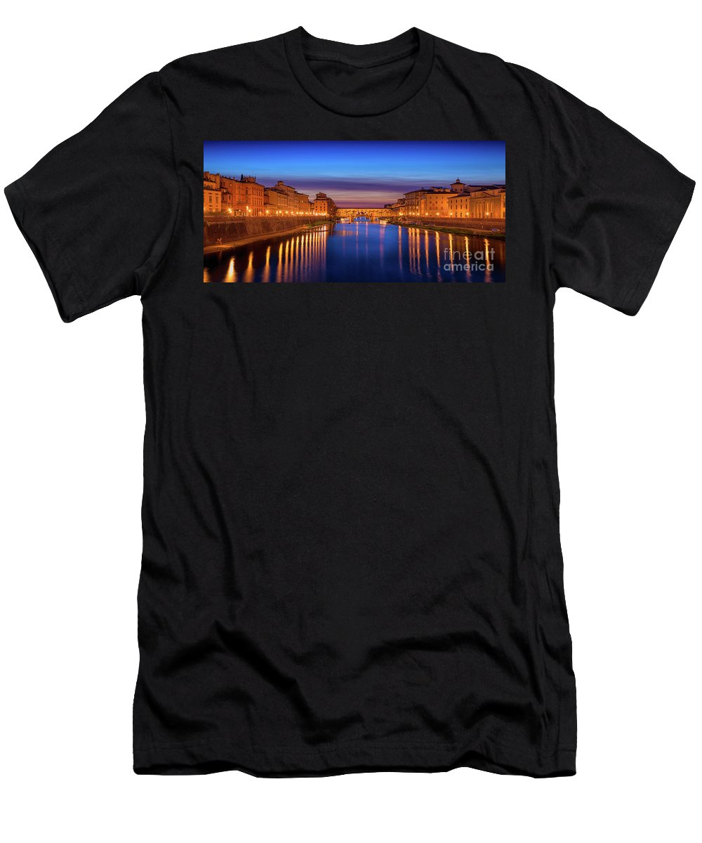 Italy Men's T-Shirt (Athletic Fit) featuring the photograph Ponte Vecchio Nigth Panorama by Evgeni Nedelchev