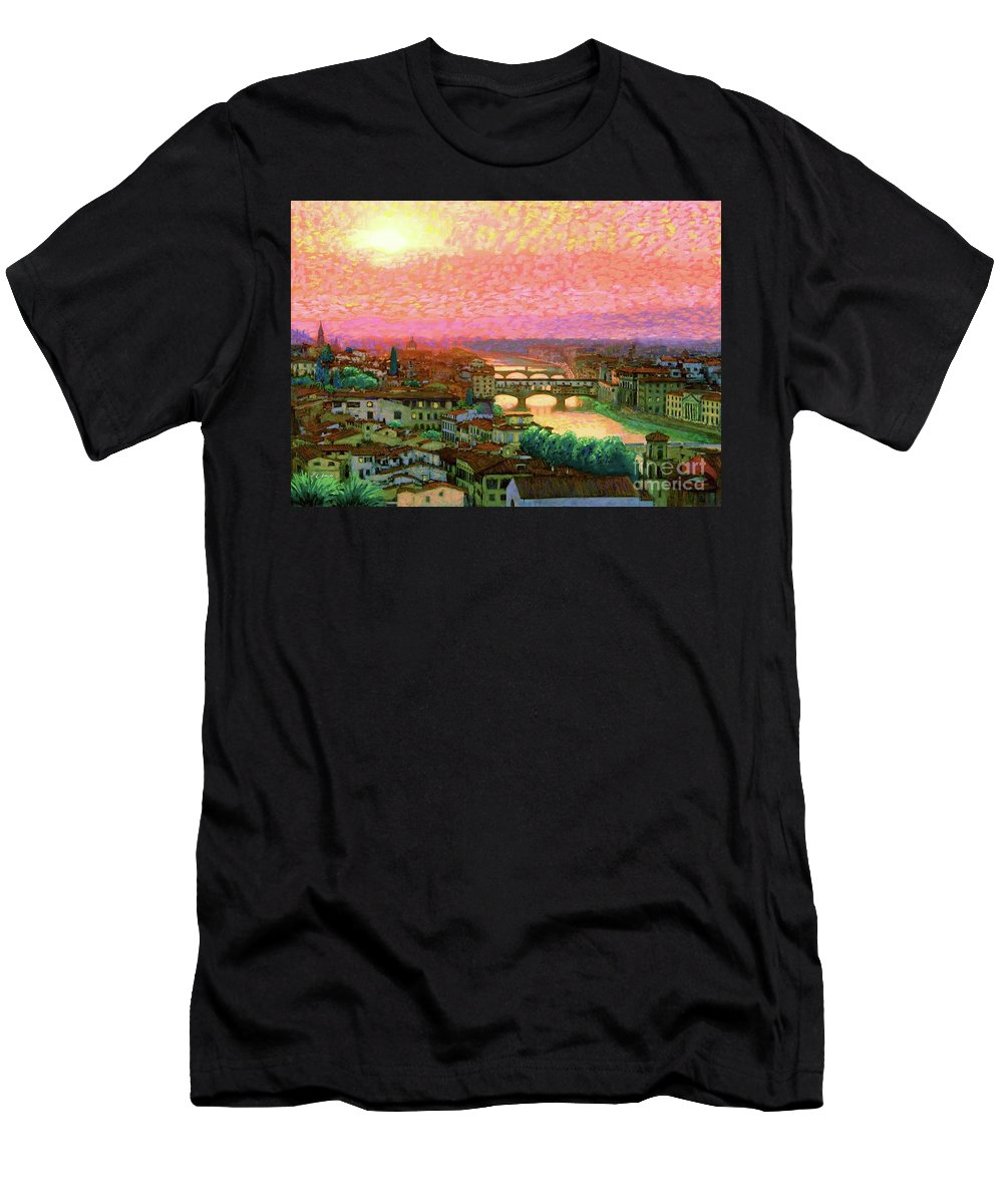 Italy Men's T-Shirt (Athletic Fit) featuring the painting Ponte Vecchio Sunset Florence by Jane Small