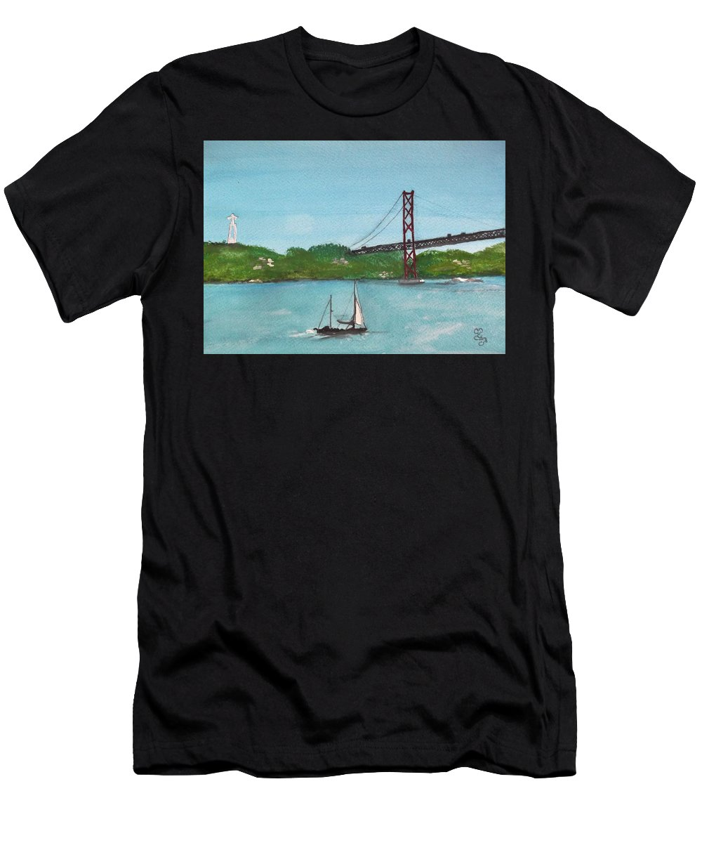 Ponte Vinte E Cinco De Abril Men's T-Shirt (Athletic Fit) featuring the painting Ponte Vinte E Cinco De Abril by Carole Robins