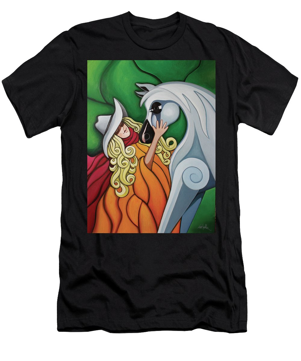 Cowgirl Men's T-Shirt (Athletic Fit) featuring the painting Pony Girl #1 by Lance Headlee