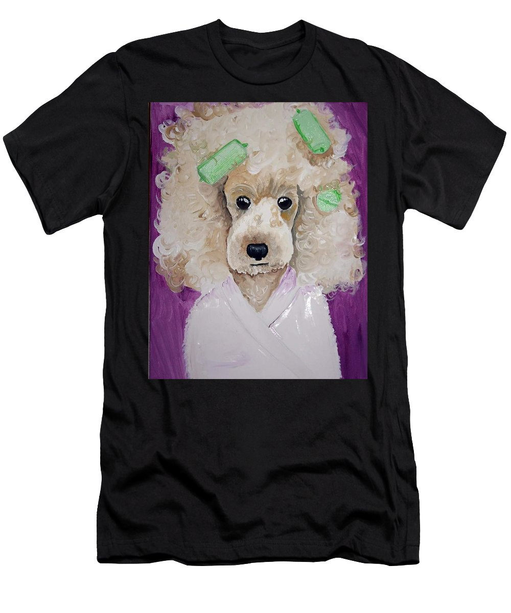 Poodle Men's T-Shirt (Athletic Fit) featuring the painting Poodle by Ivy Hinrichs