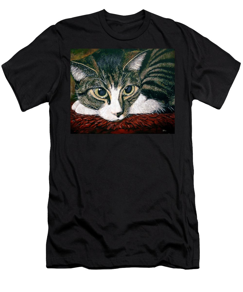 Cat Men's T-Shirt (Athletic Fit) featuring the painting Pooky by Arie Van der Wijst