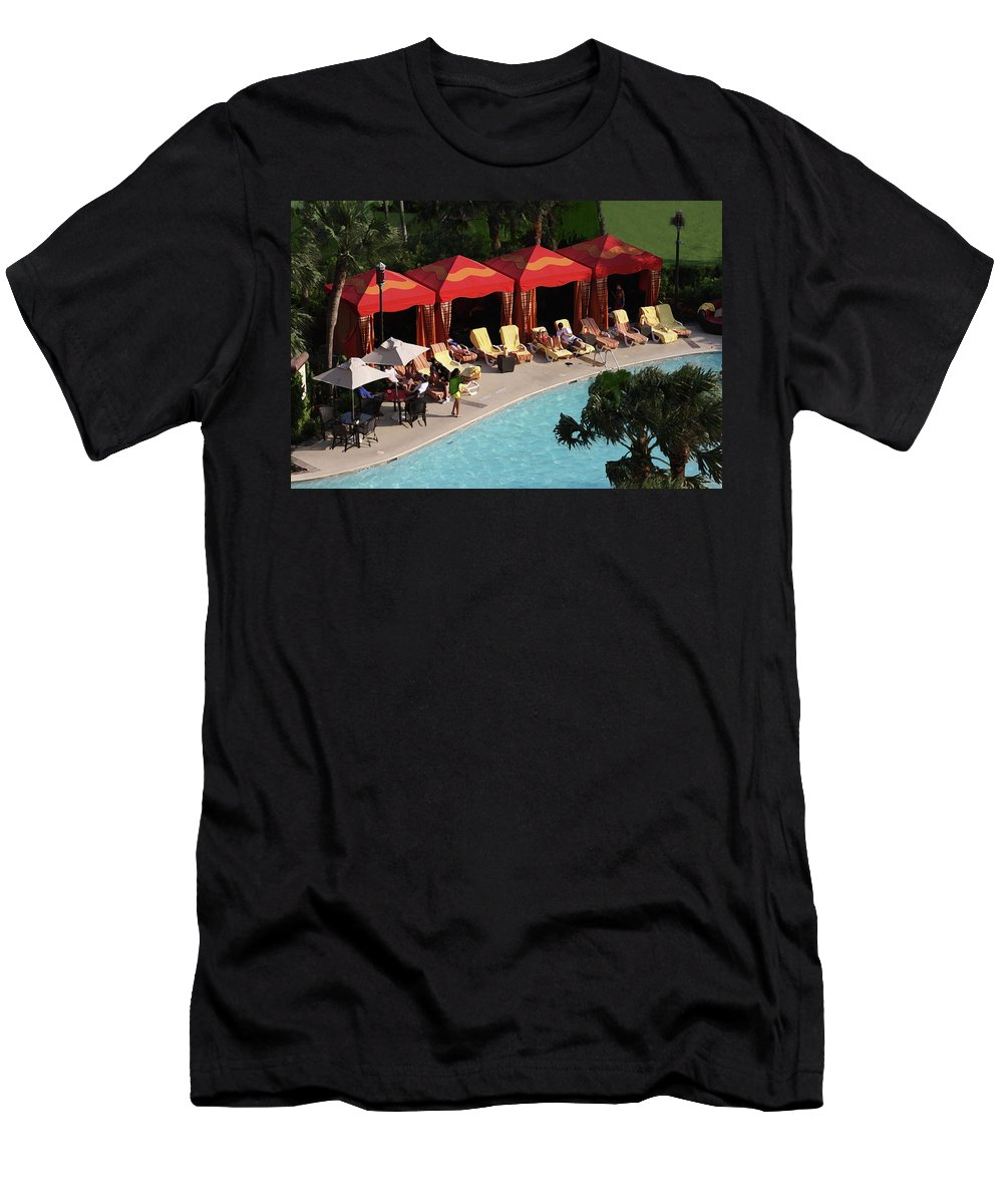 Pools Men's T-Shirt (Athletic Fit) featuring the photograph Pool Side by Kim Henderson