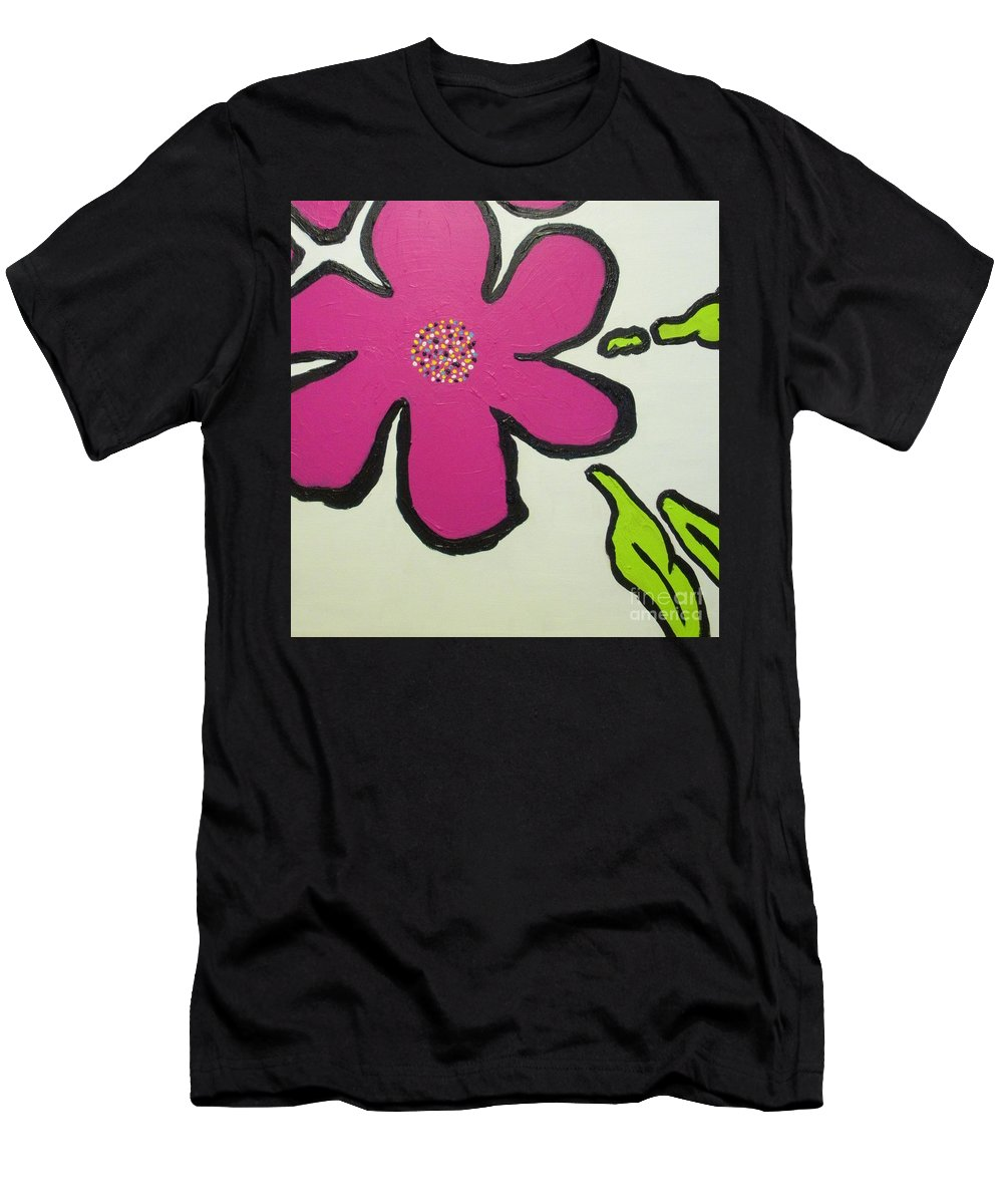 Flower Men's T-Shirt (Athletic Fit) featuring the painting Pop Art Pansy by Maria Bonnier-Perez