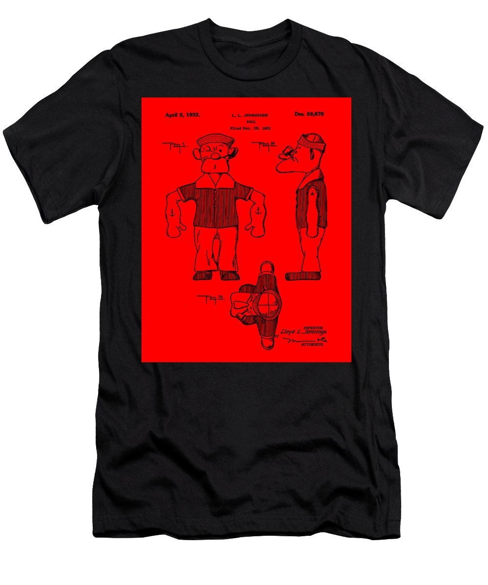 Popeye Men's T-Shirt (Athletic Fit) featuring the digital art Popeye Doll Patent 1932 In Red by Bill Cannon