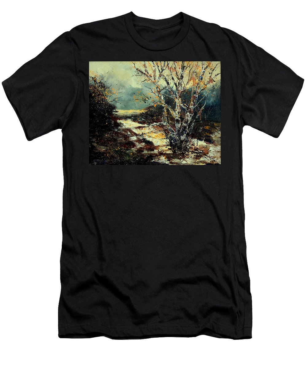 Tree Men's T-Shirt (Athletic Fit) featuring the painting Poplars 45 by Pol Ledent