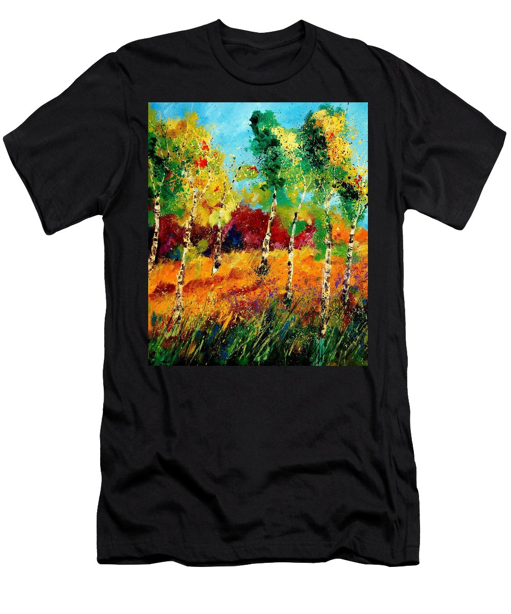 Poppy Men's T-Shirt (Athletic Fit) featuring the painting Poplars '459070 by Pol Ledent