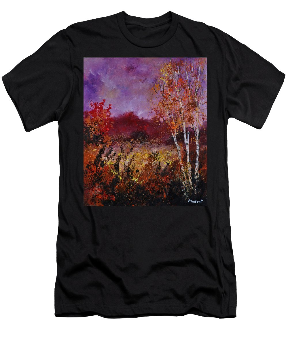 Landscape T-Shirt featuring the painting Poplars in autumn by Pol Ledent