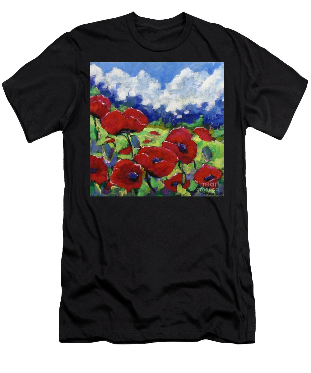 Art Men's T-Shirt (Athletic Fit) featuring the painting Poppies 003 by Richard T Pranke