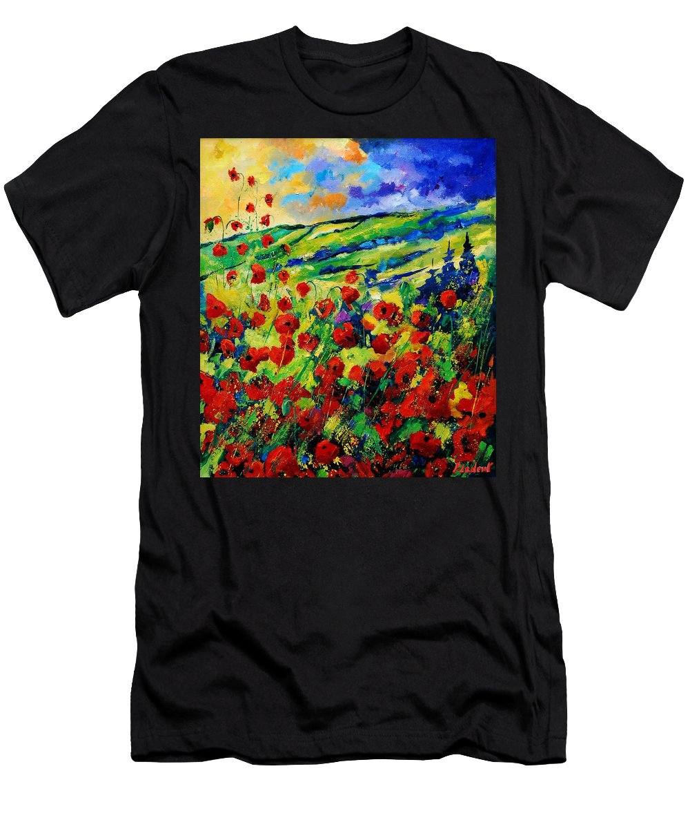 Flowers Men's T-Shirt (Athletic Fit) featuring the painting Poppies 78 by Pol Ledent
