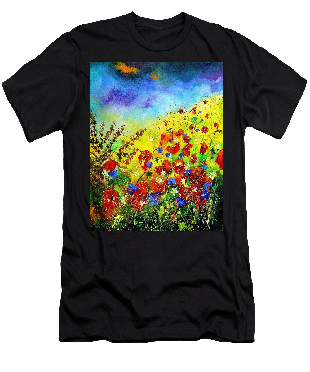 Poppies Men's T-Shirt (Athletic Fit) featuring the print Poppies And Blue Bells by Pol Ledent