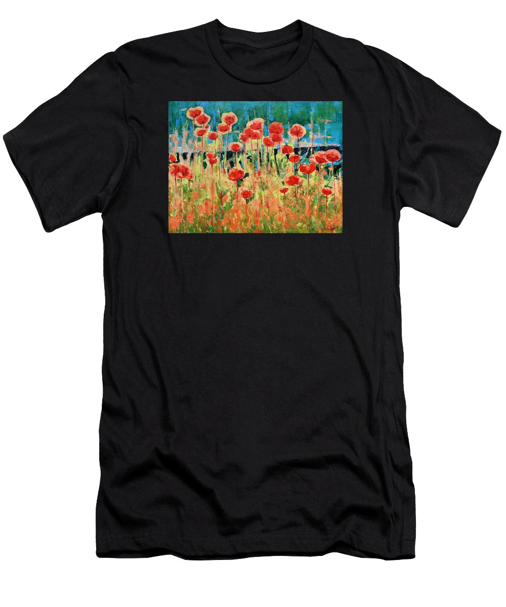 Poppies Men's T-Shirt (Athletic Fit) featuring the painting Poppies And Traverses 2 by Iliyan Bozhanov