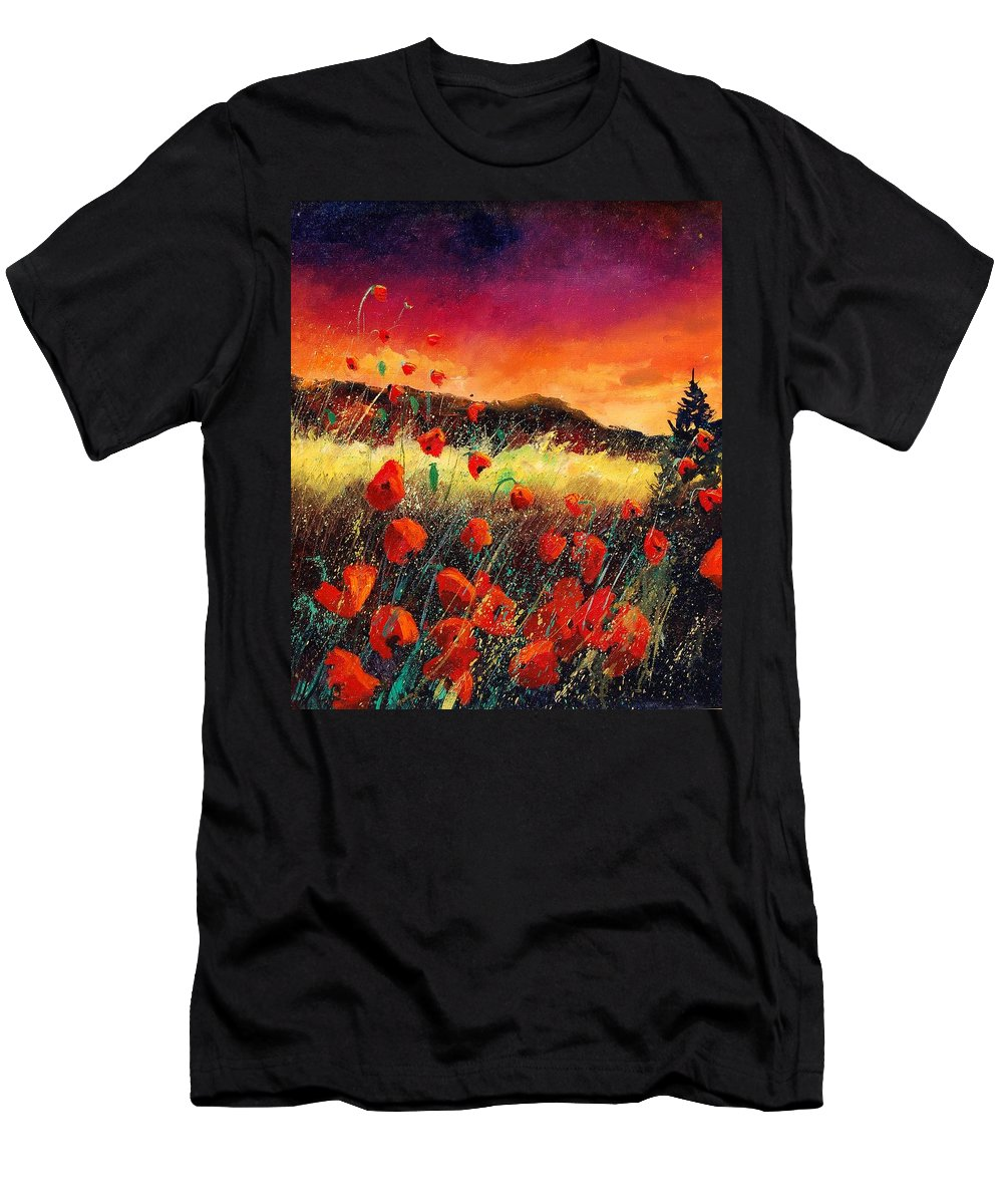 Poppies Men's T-Shirt (Athletic Fit) featuring the painting Poppies At Sunset 67 by Pol Ledent