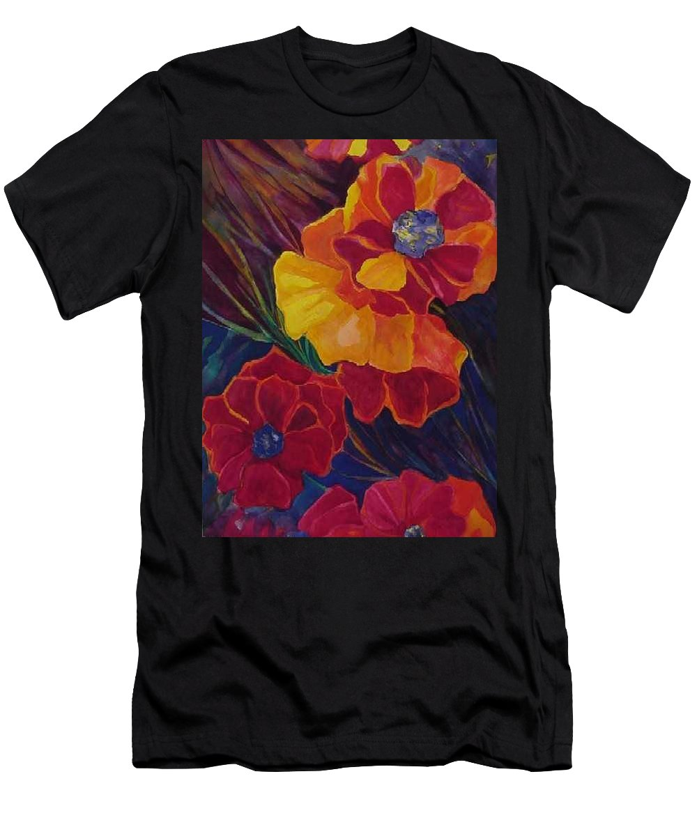 Flowers Men's T-Shirt (Athletic Fit) featuring the painting Poppies by Carolyn LeGrand
