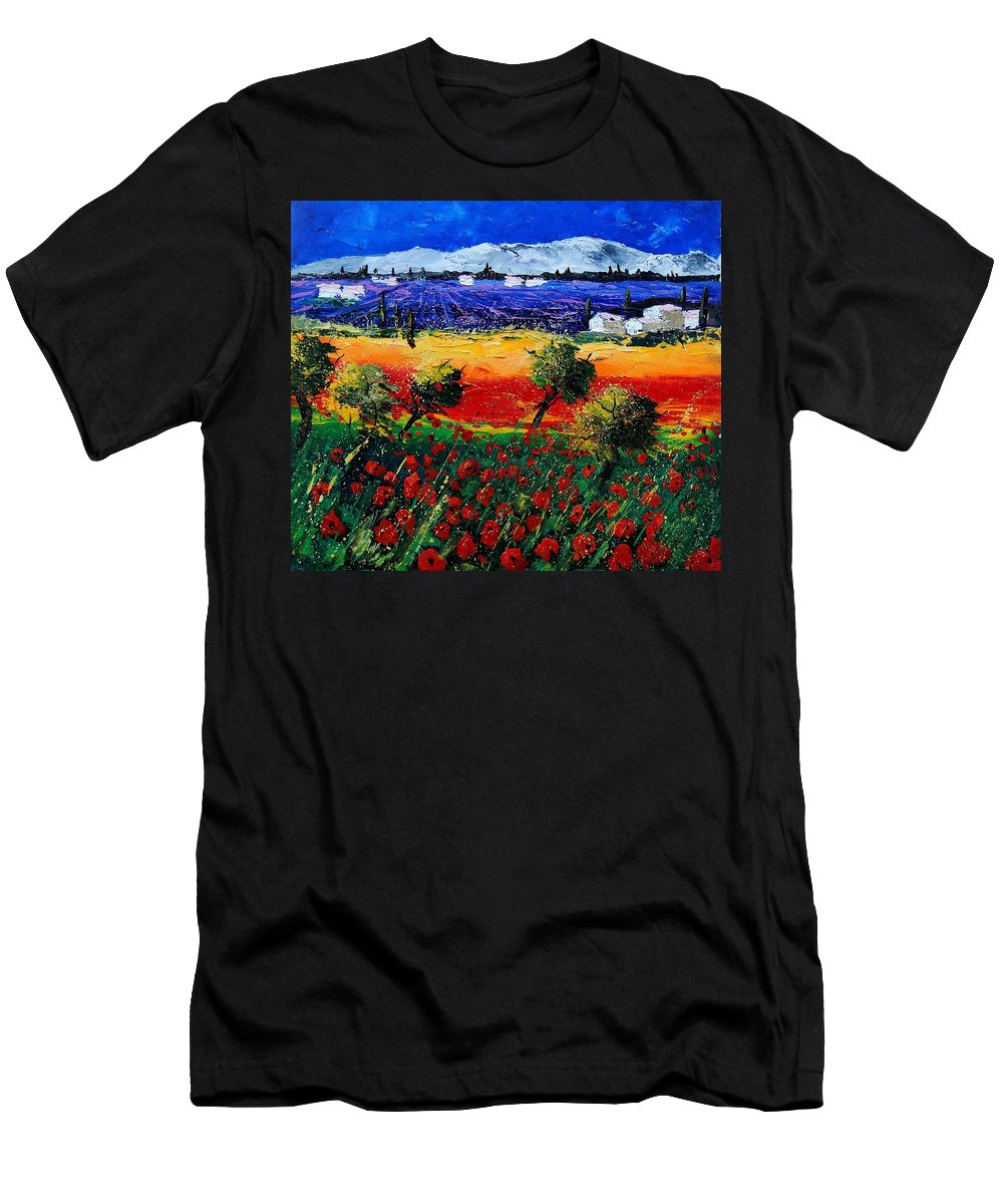 Poppy Men's T-Shirt (Athletic Fit) featuring the painting Poppies In Provence by Pol Ledent