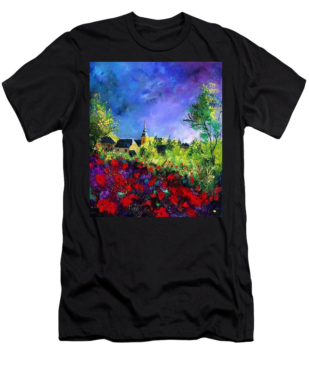 Flowers Men's T-Shirt (Athletic Fit) featuring the painting Poppies In Villers by Pol Ledent