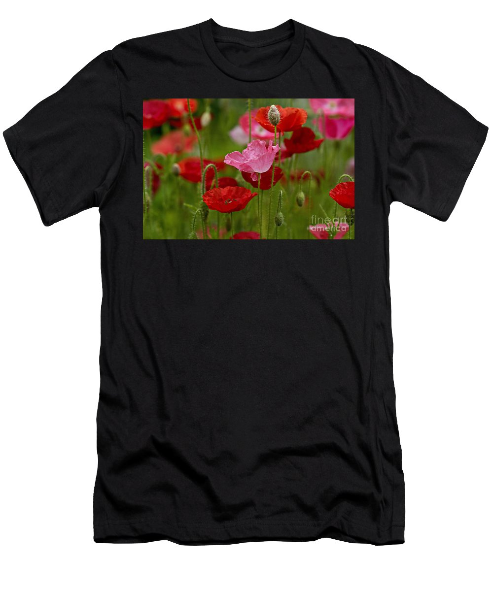 Flowers Men's T-Shirt (Athletic Fit) featuring the photograph Poppies by Susan Garver