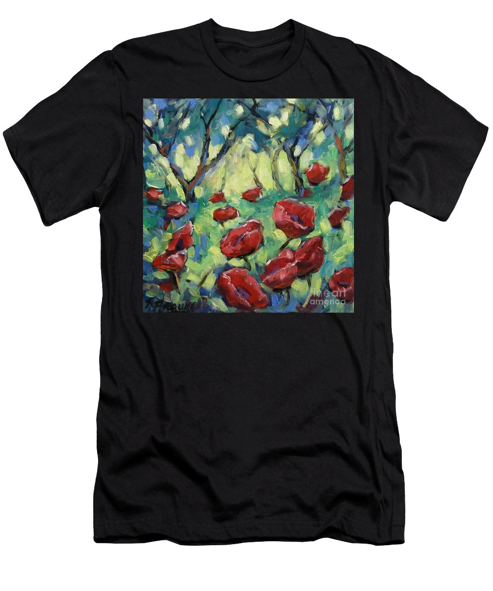 Art Men's T-Shirt (Athletic Fit) featuring the painting Poppies Through The Forest by Richard T Pranke