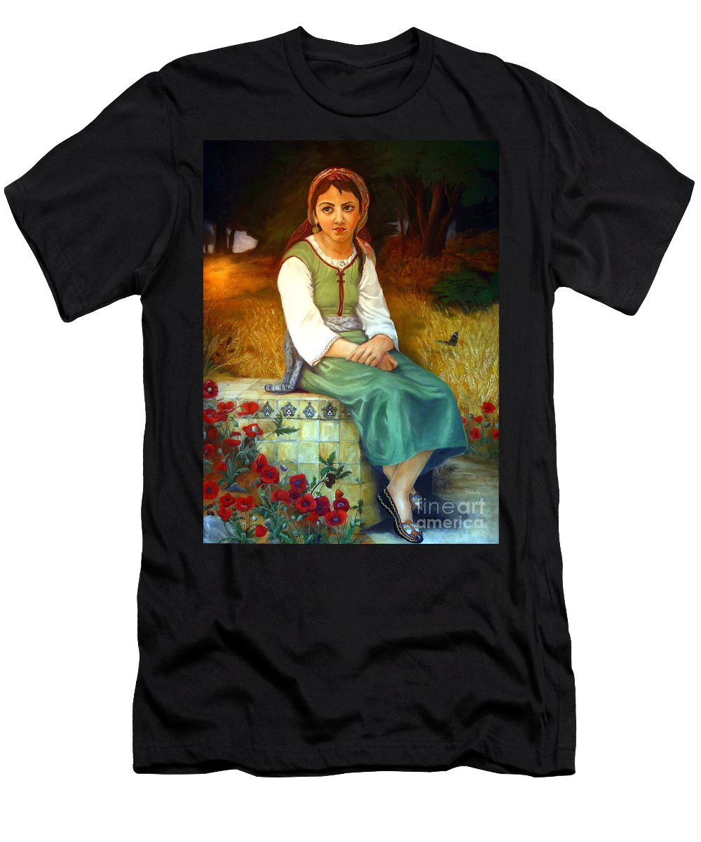 Landscape Painting Men's T-Shirt (Athletic Fit) featuring the painting Poppy Field by Portraits By NC