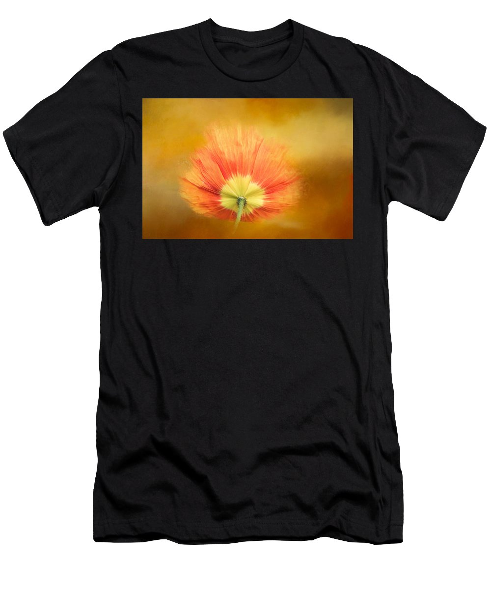 Poppy Men's T-Shirt (Athletic Fit) featuring the digital art Poppy On Fire by Terry Davis