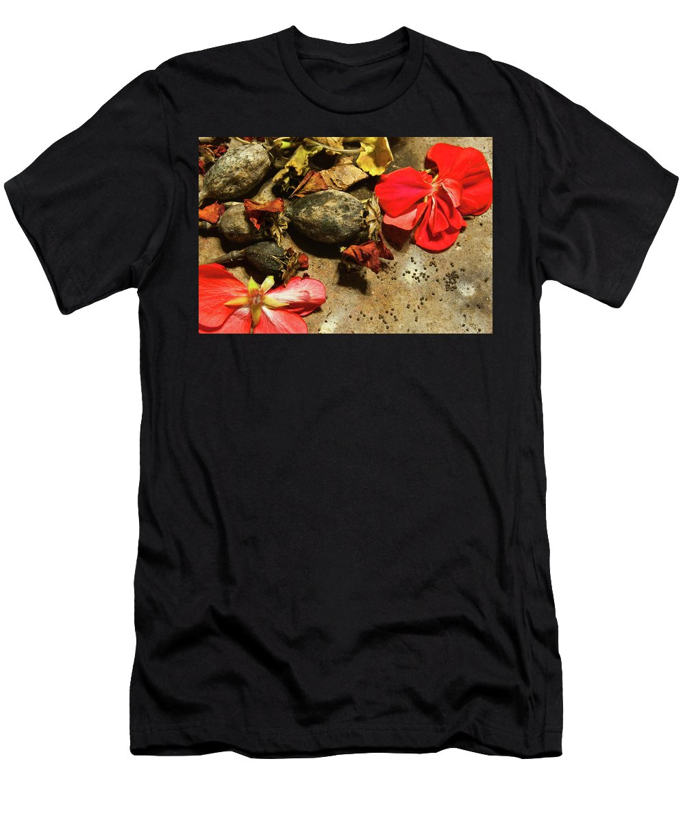 Papaver Men's T-Shirt (Athletic Fit) featuring the photograph Poppy Seedpods by Jarmo Honkanen