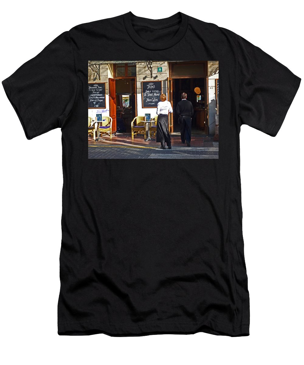 Cafe Men's T-Shirt (Athletic Fit) featuring the painting Port De Soller by Charles Stuart