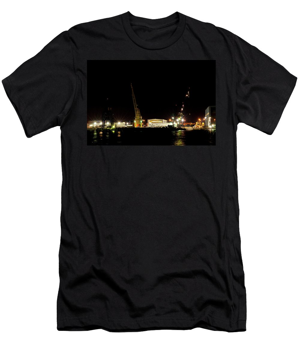 Port Men's T-Shirt (Athletic Fit) featuring the photograph Port Of Tampa At Night by Carolyn Marshall