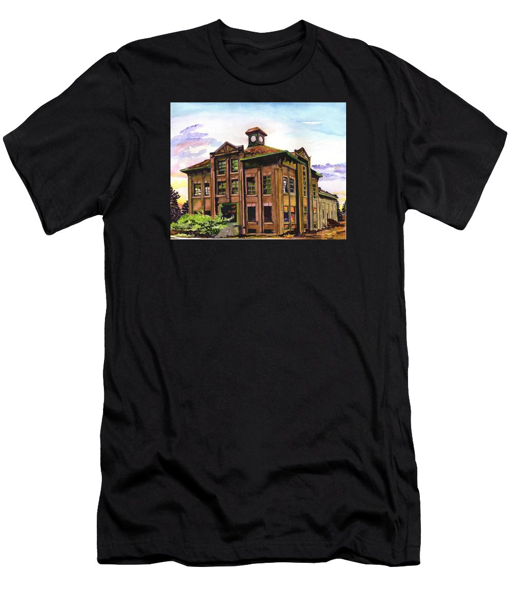 Paintings By Tracy Roland Men's T-Shirt (Athletic Fit) featuring the painting Portland Gas And Coke Building Without Border by Tracy Dupuis Roland