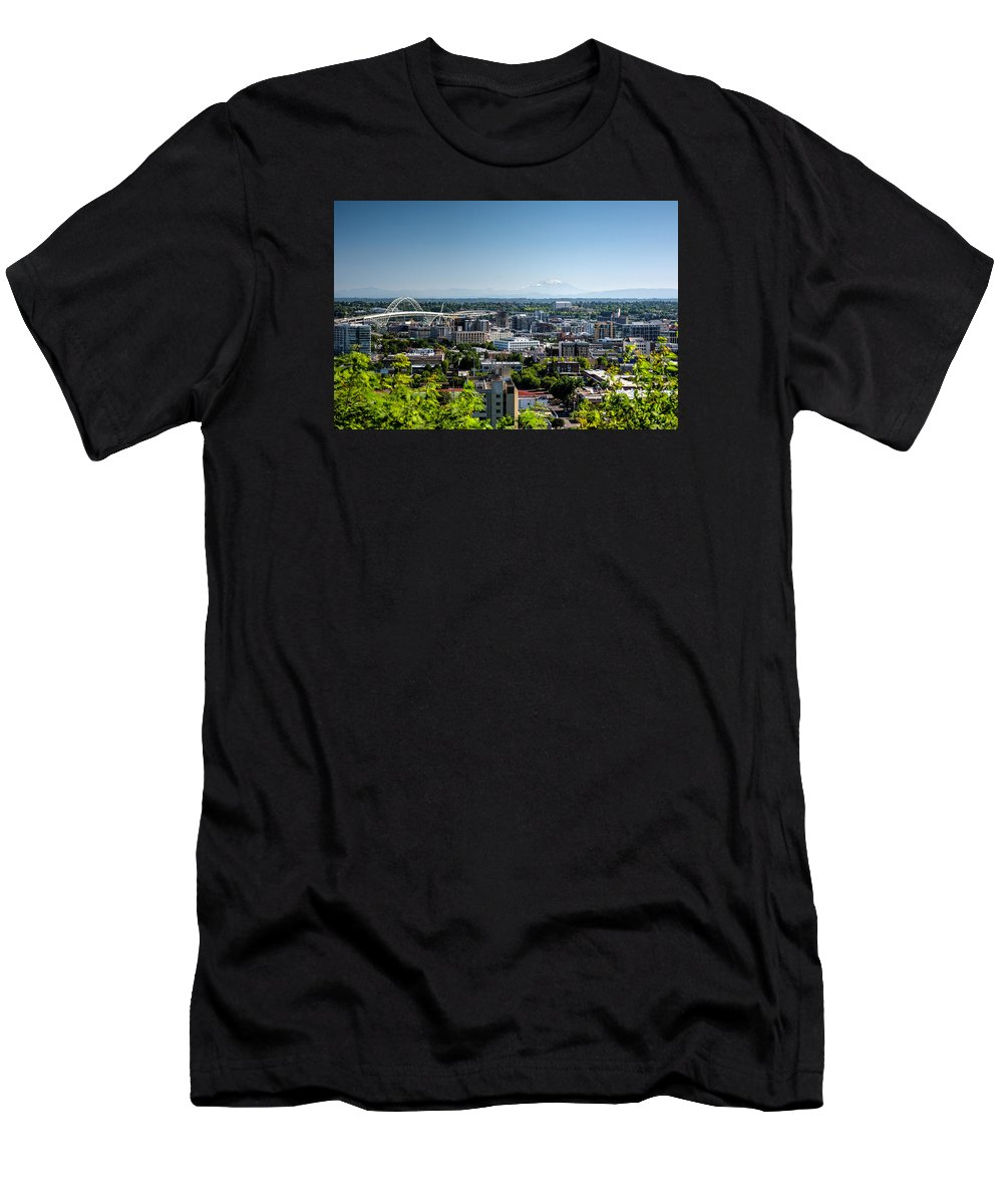 Portland Men's T-Shirt (Athletic Fit) featuring the photograph Portland Oregon by Joan Baker