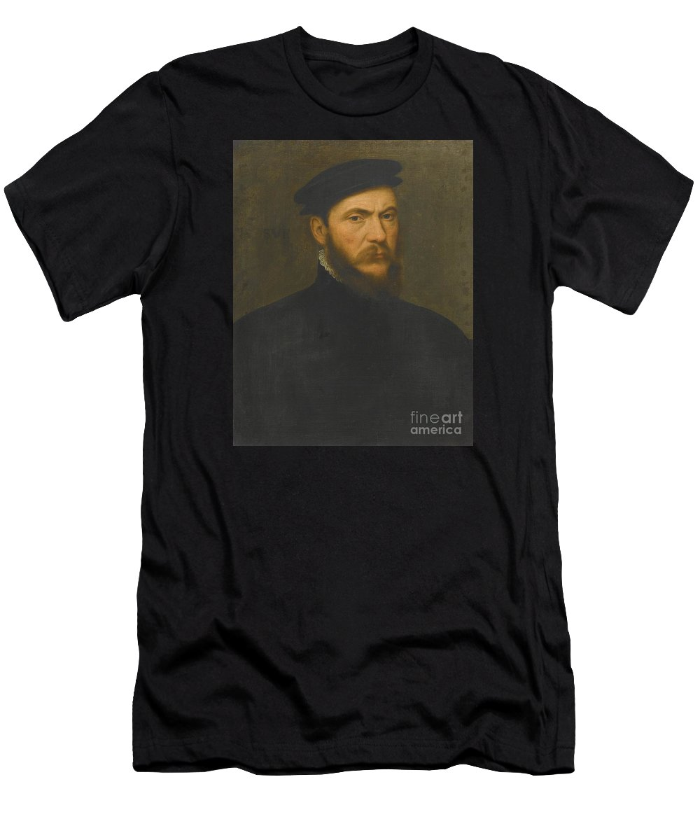 Willem Key Portrait Of A Bearded Man Men's T-Shirt (Athletic Fit) featuring the painting Portrait Of A Bearded Man by MotionAge Designs